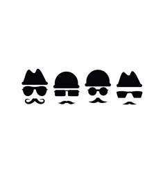 spy with mustache icon design template isolated vector image