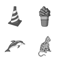 transport animal and other monochrome icon in vector image