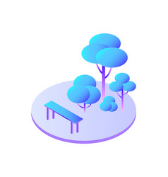 trees forest with bushes and bench to sit icon vector image