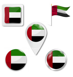 United arab emirates flag on button vector