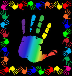 With multicolored handprints border and big palm vector