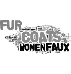 Womens faux fur coat text word cloud concept vector