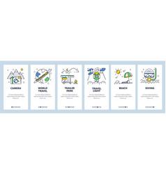 worldwide travel website and mobile app onboarding vector image