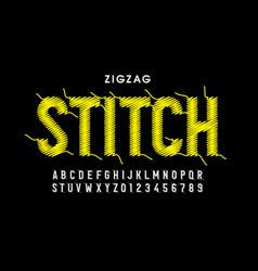 zigzag stitch style font vector image