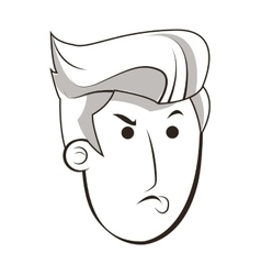 face of angry man icon vector image