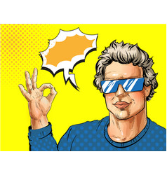 pop art young man showing ok hand sign vector image