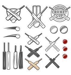 Set of cricket team emblem design elements vector image vector image