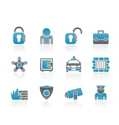 social security and police icons vector image