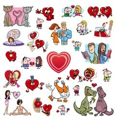 valentine cartoons set vector image vector image