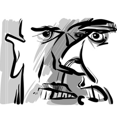 angry arguing men sketch drawing vector image vector image