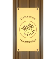 Carnival flyer on a wooden background vector image