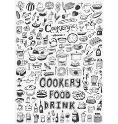 cooking food doodles vector image vector image