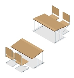 Isometric Wooden school desk and chair isolated on vector image vector image