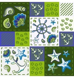 Nautical marine patchwork seamless pattern with vector image