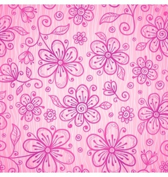 Pink lacy vintage flowers seamless pattern vector image