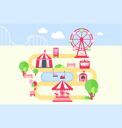amusement park map infographic elements vector image vector image
