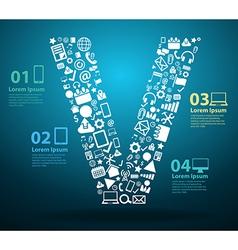 Application icons alphabet letters V design vector image vector image