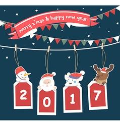 Merry Christmas greeting card 2017 vector image