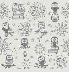 owl seamless winter vector image vector image