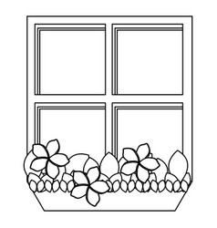 silhouette closed window frame with plants vector image vector image