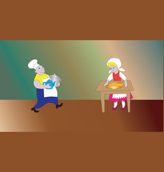cheerful cook and mistress vector image vector image