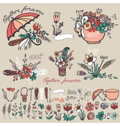 Doodle floral grouphand sketched element decor vector image vector image