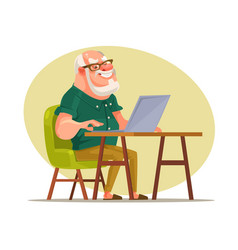 elderly man character chatting on network vector image vector image