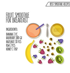 fruit smoothie for breakfast recipe hand vector image