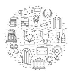 Graduation Time Concept Shape Icons vector image vector image