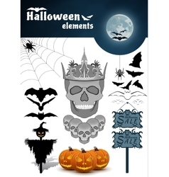 Halloween elements set vector image vector image