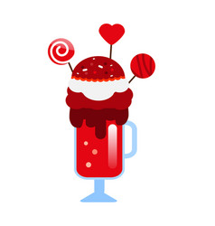 Monster shake with cake pops and candies giant vector