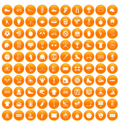 100 sport team icons set orange vector