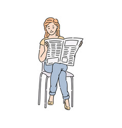 a woman or girl in cassual wear reading newspaper vector image