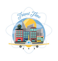 Airplane and hotel in the city of the travel vector