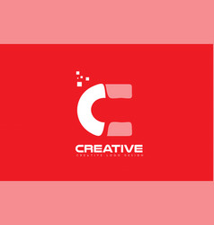 Alphabet letter c red technology white logo vector