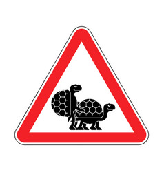 Attention turtle sex caution red road sign vector