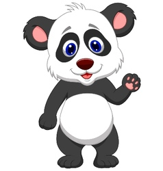 Baby panda cartoon waving hand vector
