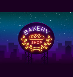 bakery logo is a neon sign on vector image
