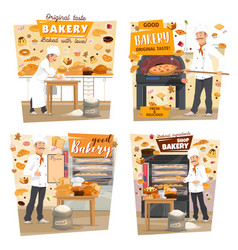 bakery shop patisserie baker profession vector image