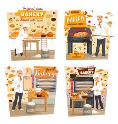 Bakery shop patisserie baker profession vector
