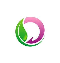 beauty green leaf eco logo vector image