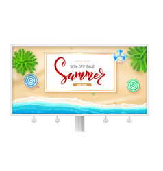 billboard with summer beach seashore poster for vector image