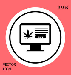 black computer monitor and medical marijuana or vector image