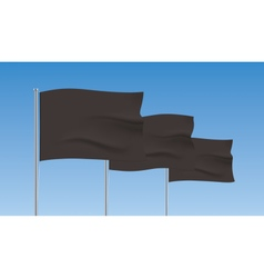 Black flags waving on a blue sky background vector