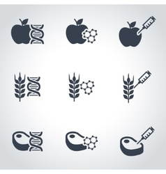 Black genetically modyfied food icon set vector