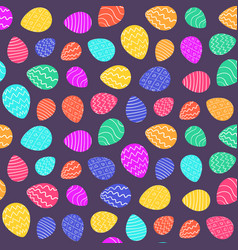 bright color easter pattern with cartoon eggs vector image