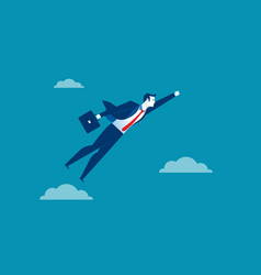 Business man character flying through sky concept vector