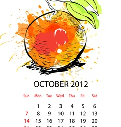 calendar with fruit for 2012 october vector image