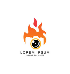 Camera and fire logo template vector