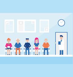 cartoon color characters people patients doctors vector image
